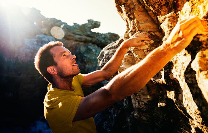 Climber deciding their next move