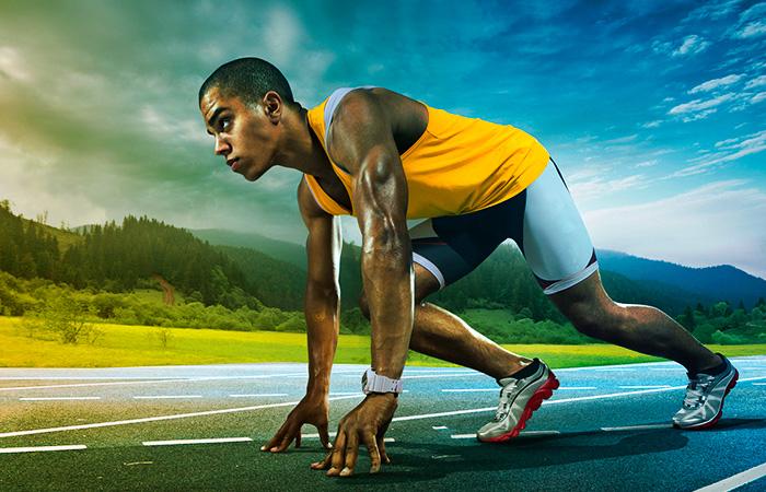 Runner leaned over ready to start the run